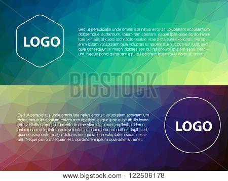 Horizontal colorful vibrant modern polygonal banner mock ups