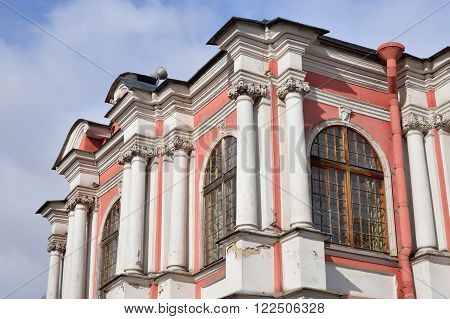 Fragment of Church of the Annunciation of the Alexander Nevsky Lavra ancient monastery in Baroque style in center of St.Petersburg Russia.