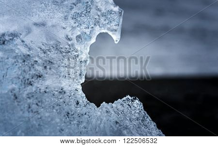 Photo of blue frozen ice closeup macro