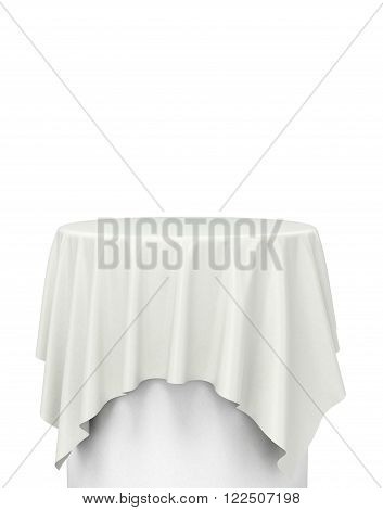 White Cloth On A Round Pedestal Isolated On White