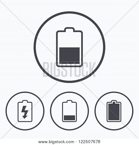 Battery charging icons. Electricity signs symbols. Charge levels: full, half and low. Icons in circles.