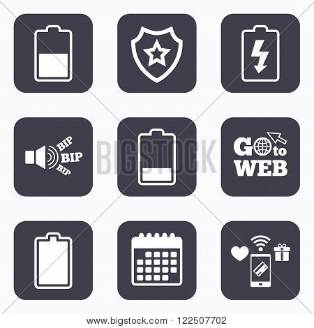 Mobile payments, wifi and calendar icons. Battery charging icons. Electricity signs symbols. Charge levels: full, half and low. Go to web symbol.
