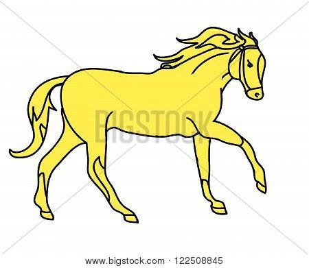 Graphic silhouette of a galloping horse. The drawing of lines simple sketch. Vector illustration on a white background.