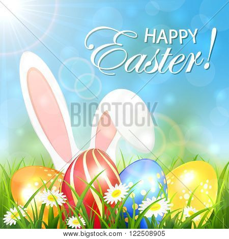 Spring background with colored Easter eggs and rabbit ears in the grass, illustration.