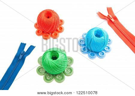 Different Spools Of Thread, Zipper And Buttons