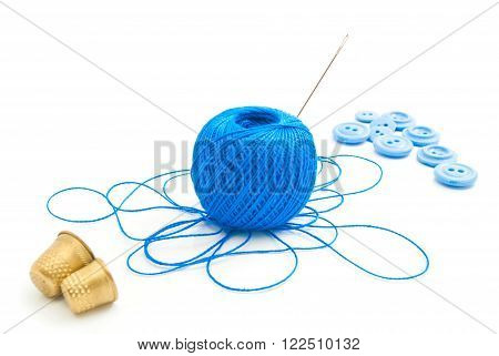 Spool Of Thread, Thimbles And Buttons