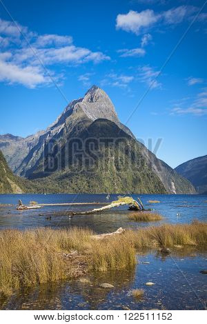Mitre Peak In Milford Sound New Zealand