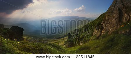 Panorama. Carpathian Mountains. View from Mount Pop Ivan. The rays of the setting sun ** Note: Visible grain at 100%, best at smaller sizes
