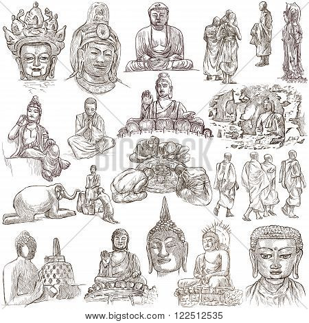 Buddhism BUDDHA pack - Collection of an hand drawn illustrations. Description Full sized hand drawn illustrations (freehand sketches). Drawings on white background.