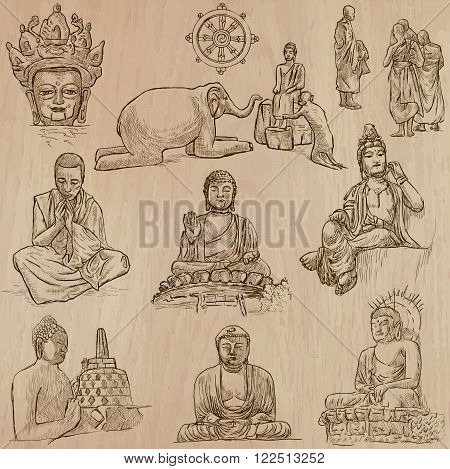 Buddhism - BUDDHA religion. Description - Vectors freehand sketching. Editable in layers and groups. Background is isolated. All things are named inside the vector file.