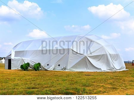 MOSCOW REGION - AUGUST 27: White tent of an exhibition pavilion with ventilation actuators at the exhibition camp  on August  27, 2015 in Moscow region