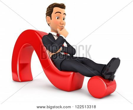 3d businessman lying on question mark isolated white background