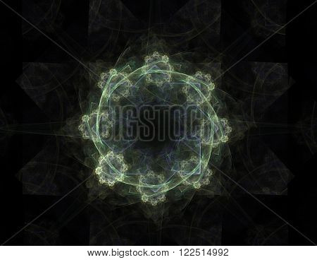 Lacy Colorful Clockwork Pattern, Digital Fractal Art Design