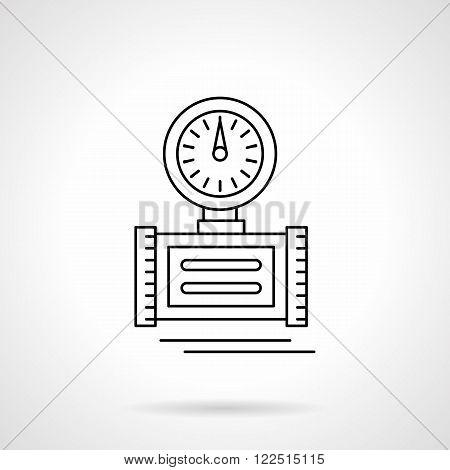 Pressure measuring flat thin line vector icon