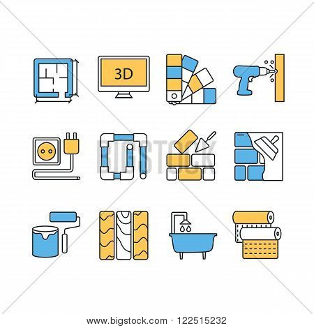 Vector set of modern flat line color icons for home improvement website includes objects for finishing works, renovation and building elements.