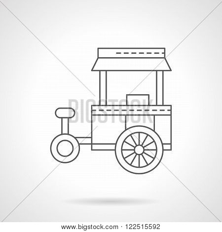 Store on wheels flat thin line vector icon