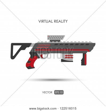 Gun for virtual reality system. Game weapons. Vector illustration