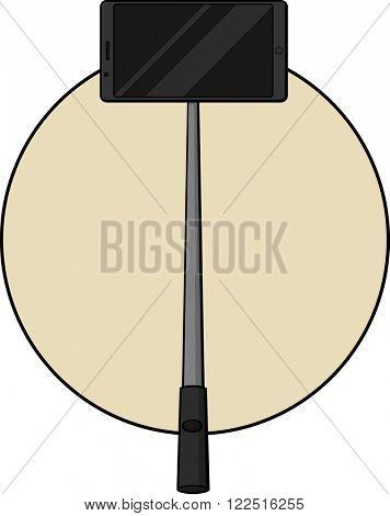 selfie stick with smartphone