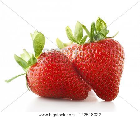 red strawberries isolate on white