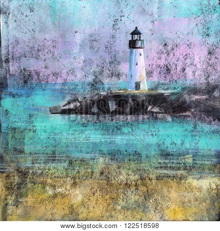 Abstract painting of a beach with lighthouse, made with acrylic paint on black card stock.