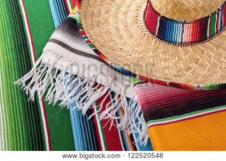 Mexico mexican sombrero and traditional serape blanket