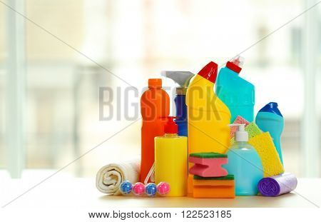 Cleaning set with products and tools