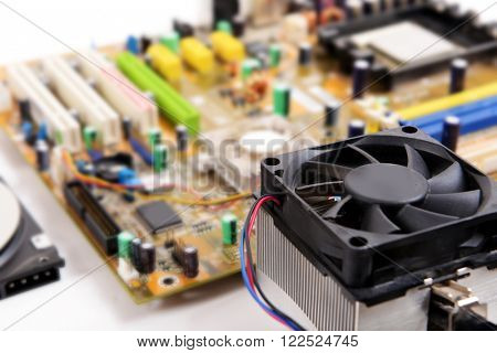Computer motherboard with fan, close up