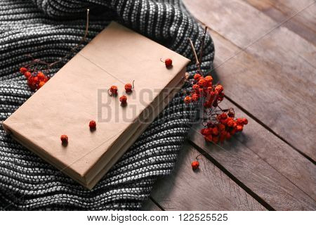 A book, rowan berries and a woolen blanket on wooden background