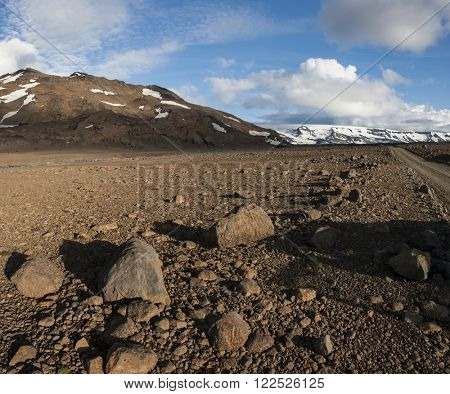 Mountains covered by icy glaciers on Iceland