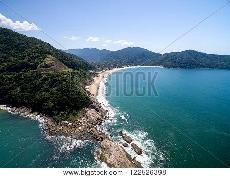 Aerial View of Sao Paulo Coastline, Sao Sebastiao, Brazil