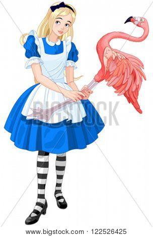 Illustration of cute Alice Plays Croquet