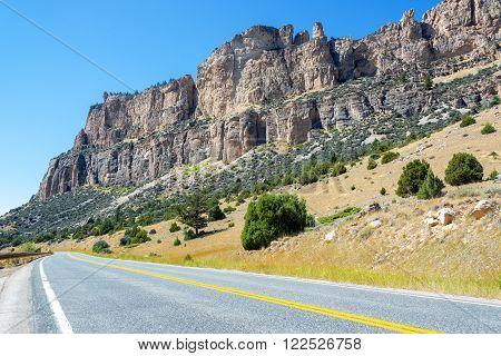 View of Highway 16 passing through Ten Sleep Canyon in Wyoming