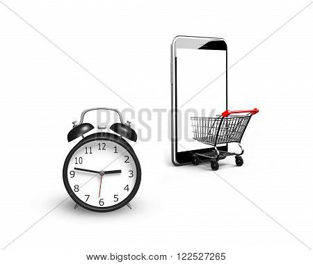 Alarm clock with small shopping cart entering smart phone of white screen, isolated on white, limited time shopping concept.