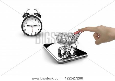 Alarm clock with forefinger pushing small shopping cart on smart phone, isolated on white, limited time shopping concept.