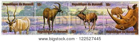 BURUNDI - CIRCA 1976: A stamp printed by Burundi shows a series of images