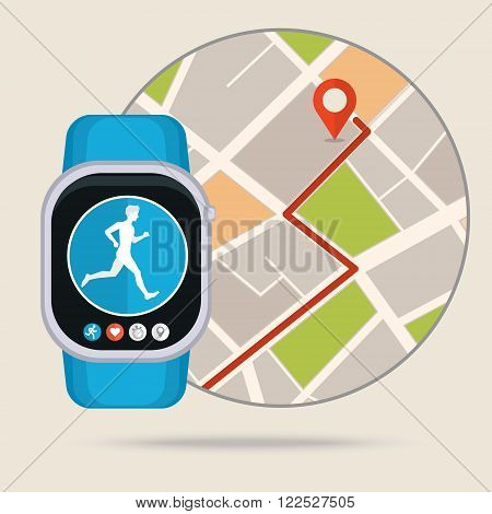 Smart watch technology with sport fitness tracker applications. Heart beat monitor. Healthy lifestyle outdoor running. Modern design with icons.