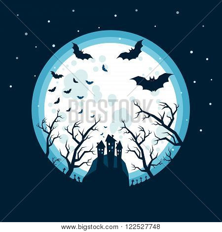 Halloween illustration. Bats flying in the night with a full moon on dark blue background.