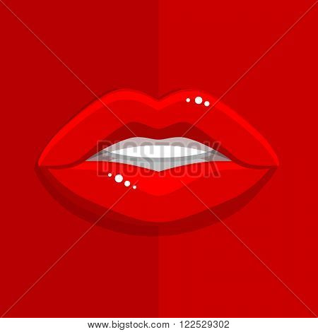 Womans mouth with open red lips on red background. Vector Illustration.