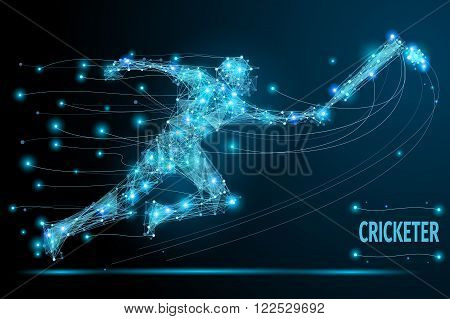 Cricketer polygonal thin line. Abstract Creative concept vector image of running man for cricket competition. Vector mesh spheres from flying debris. Futuristic technology style.
