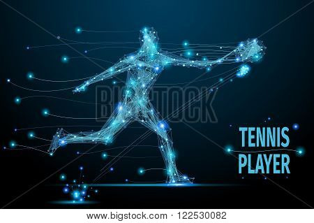 Abstract tennis player in motion with cybernetic particles. Blue triangle thin line mesh spheres. Futuristic technology style.