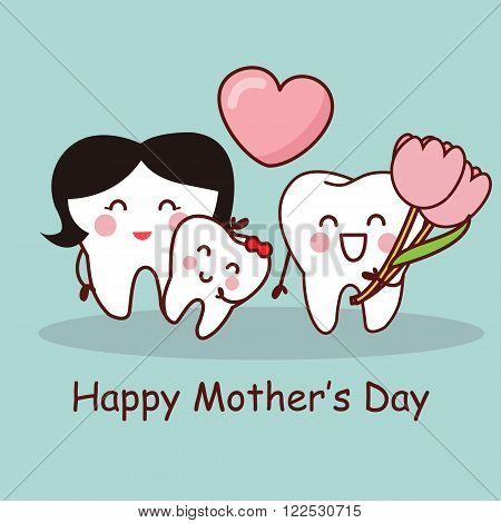 Cartoon tooth with Happy Mother Day great for health dental care concept