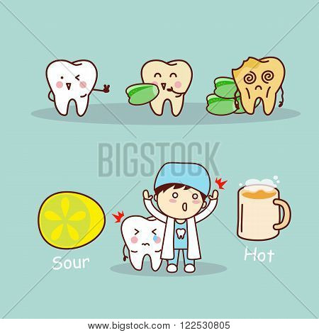 cute cartoon sensitive tooth great for health dental care concept
