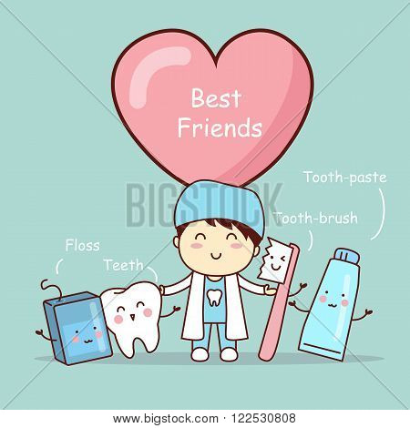 cute cartoon tooth best friends great for health dental care concept