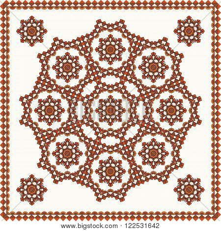 Oriental ornament. Pattern in square for shawl, blanket, pillow, etc. Background vector illustration 10 EPS