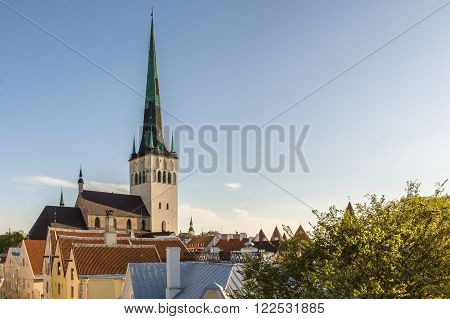 St. Olav church and tower in Old town of Tallinn Estonia