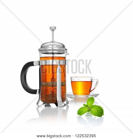 close up view of french press and a cup of green tea on white background