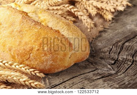whole loaf of homemade freshly baked bread and wheat ears on wooden table with copy space