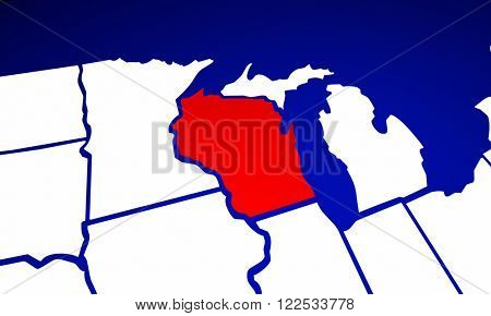 Wisconsin WI State United States of America 3d Animated State Map