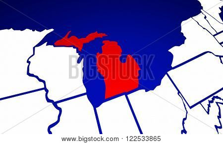 Michigan MI State United States of America 3d Animated State Map
