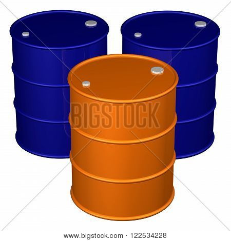 Barrels isolated on white background. 3D render.